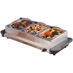BRENTWOOD Triple Buffet Server with Warming Tray & Three 1.5-Quart Steel Pans BF-315