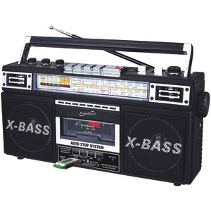 Retro 4-Band Radio & Cassette Player (Black)