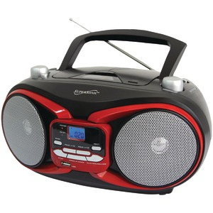 Portable MP3 & CD Player with AM-FM Radio (Red)