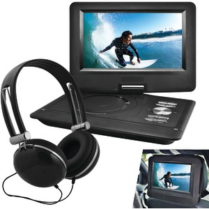Ematic 10 Portable DVD Player Swivel Screen with Matching Headphones & Car Headrest Mount (Black)