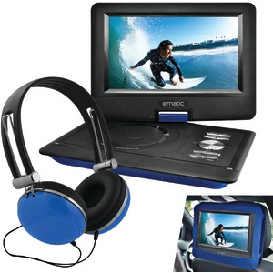 Ematic 10 Portable DVD Player Swivel Screen with Matching Headphones & Car Headrest Mount (Blue)