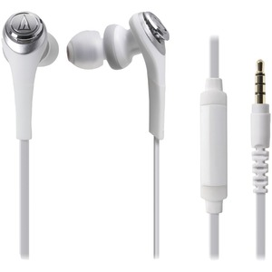 AUDIO TECHNICA Solid Bass(R) In-Ear Headset with Microphone (White) ATH-CKS550ISWH