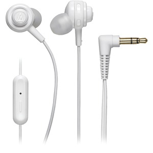 AUDIO TECHNICA SonicSport(R) In-Ear Headphones with Microphone (White) ATH-COR150ISWH