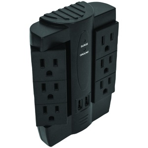 FOXSMART 6-Outlet Swivel Surge Protector with 2 USB Ports 40102