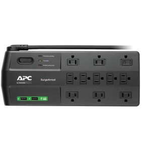 APC 11-Outlet SurgeArrest(R) Surge Protector with 2 USB Charging Ports P11U2