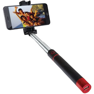 Pocket-Pro Selfie Action Stick with Bluetooth(R);& Rechargeable Battery (Red)