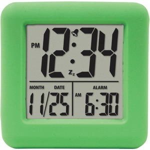 EQUITY BY LA CROSSE Soft Cube LCD Alarm Clock (Green) 70903