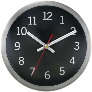 TIMEKEEPER 9 inch. Brushed Metal Round Wall Clock (Black Face) 2253B