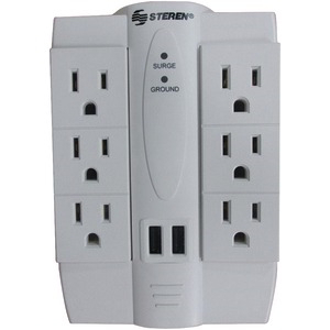STEREN 6-Outlet Swivel Surge Protector with 2 USB Ports BL-905-120