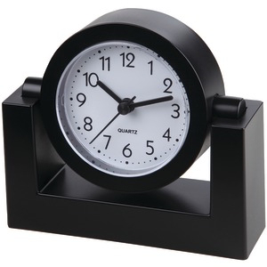 TIMEKEEPER Timekeeper Desktop Swivel Clock with Black Frame/White Face, Black TK6851