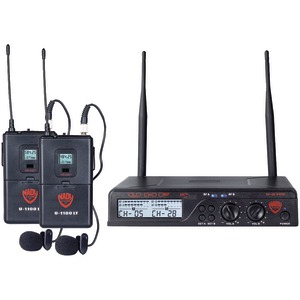 NADY UHF Dual 100-Channel Wireless Lavalier Handheld Microphone System U-2100 LT/O (BAND A/B)