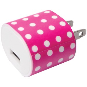 IESSENTIALS 1A USB WALL CHARGER PINK POLKADOT IE-AC1USB-PPD