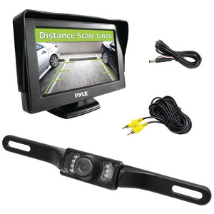 PYLE 4.3 inch. Monitor & Backup Swivel-Angle Adjustable Camera System with Distance-Scale Lines & Parking Assist PLCM46