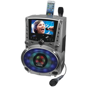 KARAOKE USA DVD/CD+G/MP3+G Bluetooth(R) Karaoke System with 7 inch. TFT Color Screen & LED Sync Lights GF758