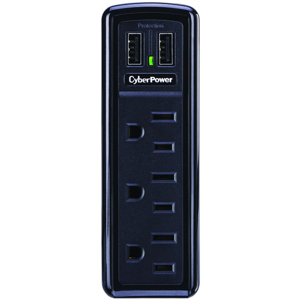 CyberPower CSP300WU 3-Outlet Professional Surge Protector Wall Tap with 2 USB Ports