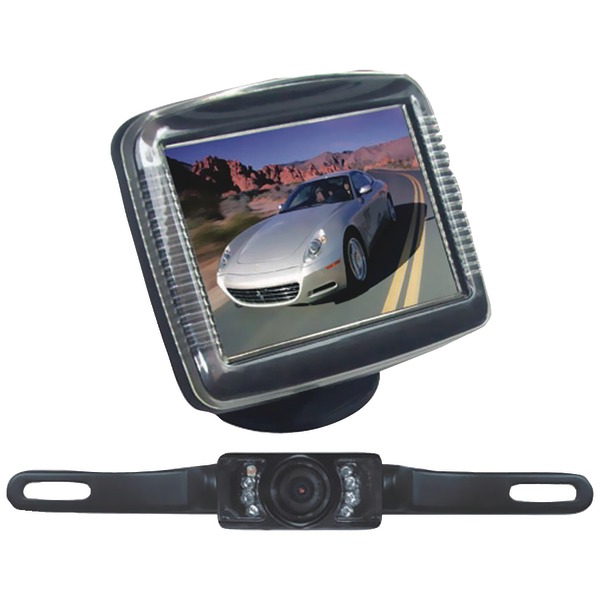PYLE PLCM36 3.5'' Slim TFT LCD Universal Mount Monitor with License Plate Mount & Rearview Camera