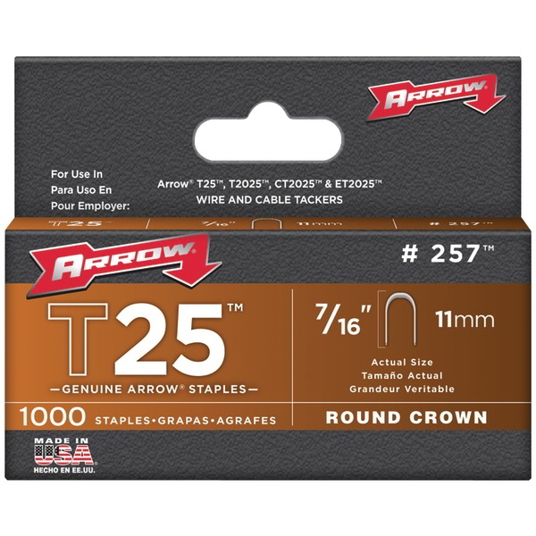 ARROW FASTENER 257 T25 Round Crown Staples 7/16 Inch. 1000 pk
