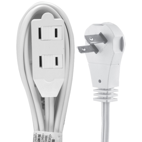 GE 50360 2-Outlet Wall Hugger Extension Cord 6ft