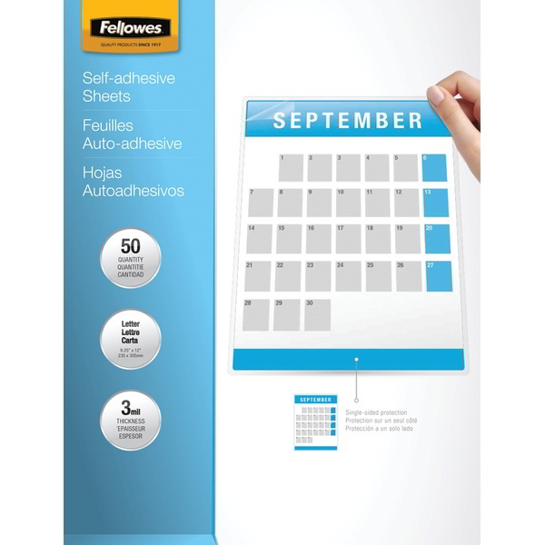 FELLOWES 5221502 9 Inch. x 12 Inch. Self-Adhesive Laminating Sheets 50 pk