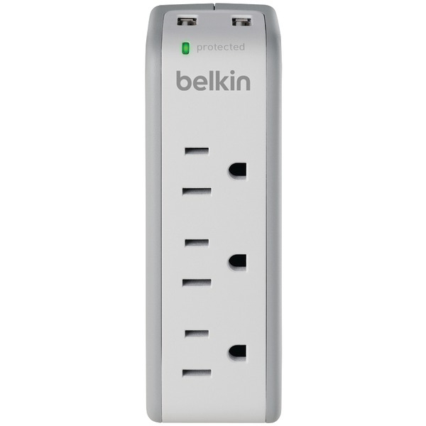BELKIN BZ103050-TVL 3-Outlet Mini Surge Protector with 2 USB Ports