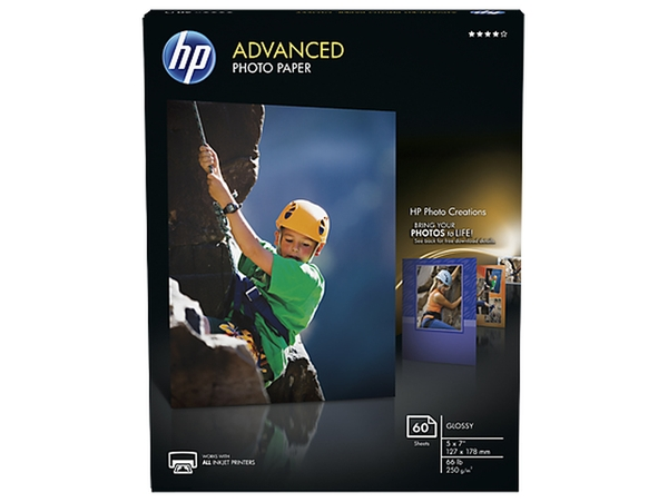 HP INC. HP ADVANCED GLOSS PHOTO PAPER 5 X 7 CONTAINS 60 SHEETS OF HP ADVANCED GLOSSY PHO