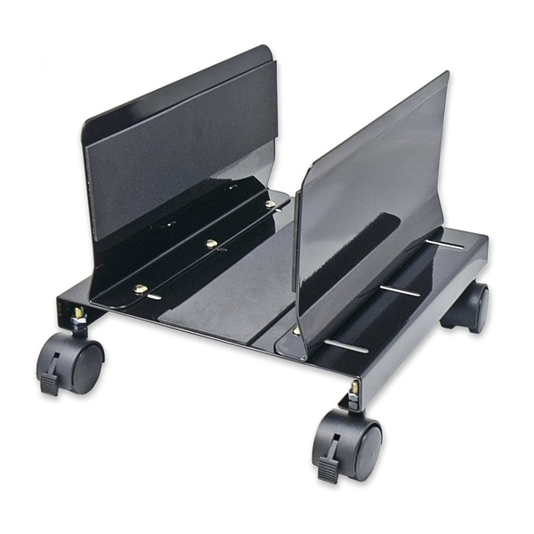 SYBA MULTIMEDIA INC CPU STAND WITH CASTORS FOR COMPUTER CASE, ALUMINUM, BLACK COLOR, ADJUSTABLE WIDT